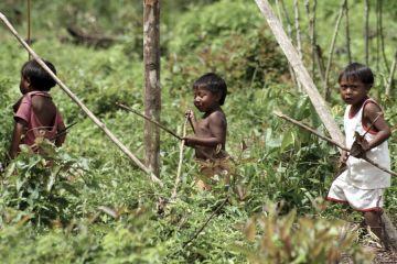 Ingarikó Indio children learning to hunt